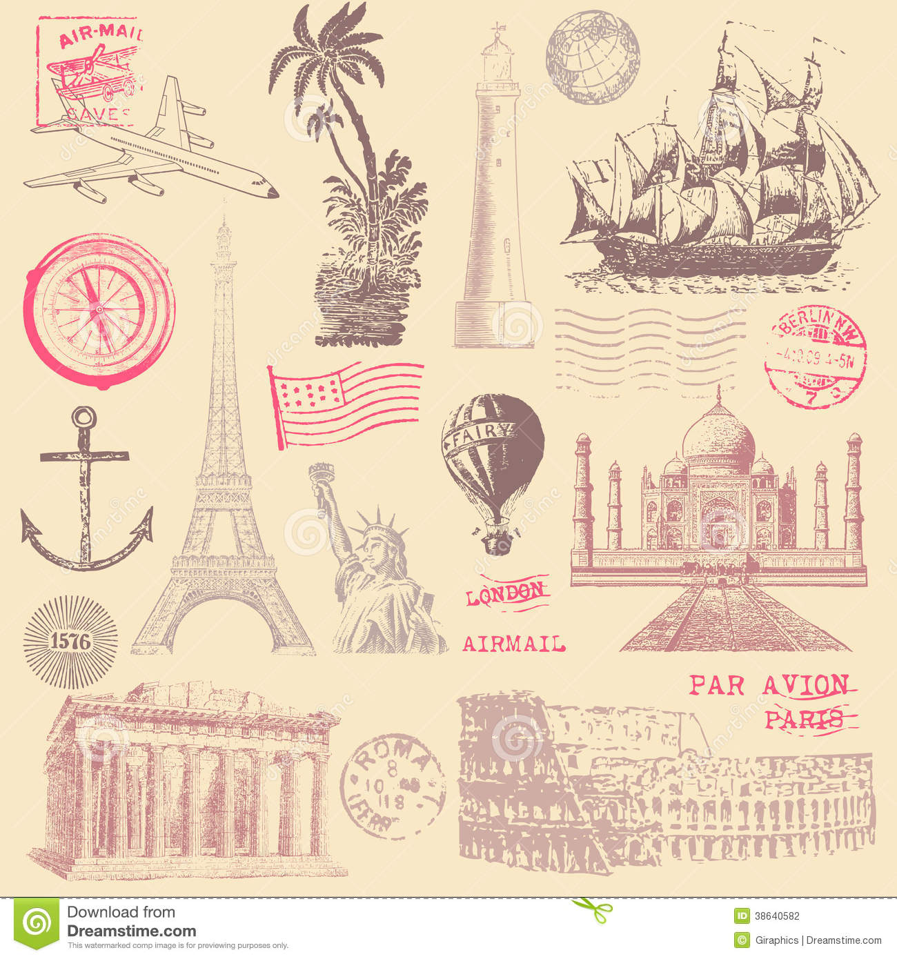Cute Anchor Wallpapers Vintage Travel Design Elements Stock Photography Image