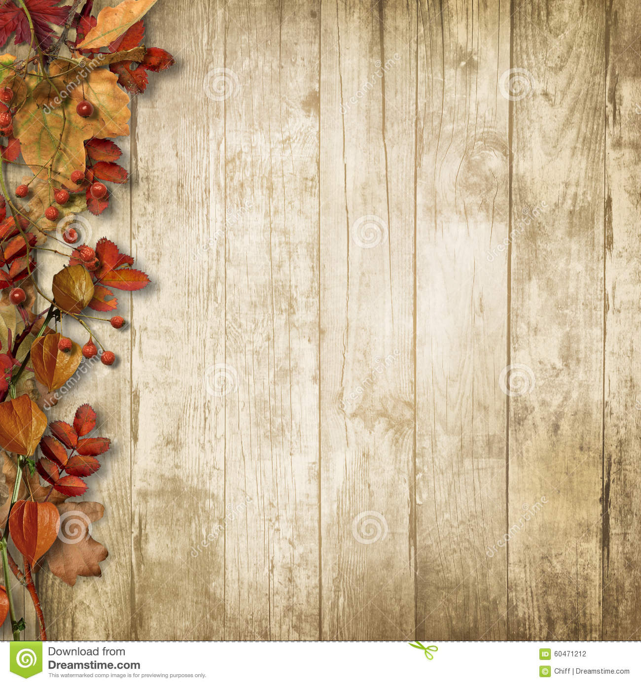 Fall Wooded Wallpaper Vintage Wooden Background With Autumn Rowan And Leaves