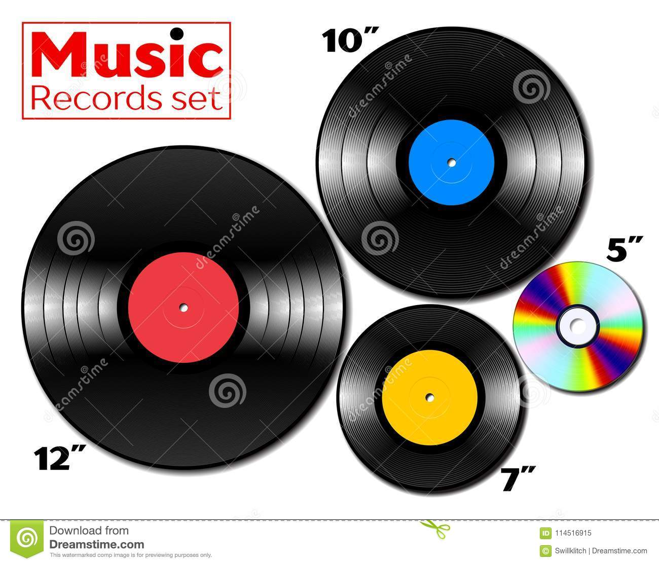 The Music Ep Vinyl Lp And Ep Collection With Various Sizes Of Music Media Stock