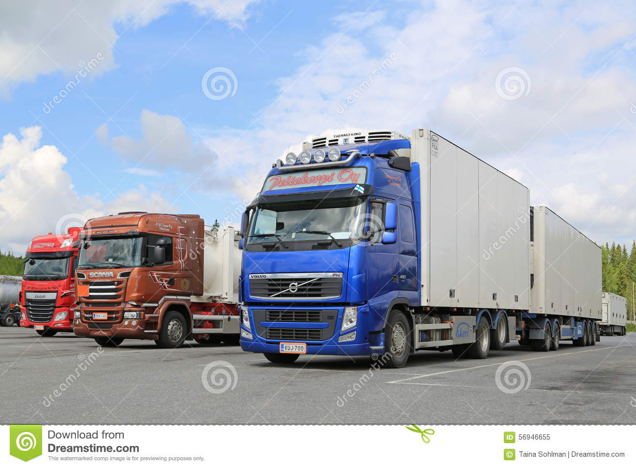 Daf Scania Volvo Scania And Daf Trucks Parked At Truck Stop Editorial Image