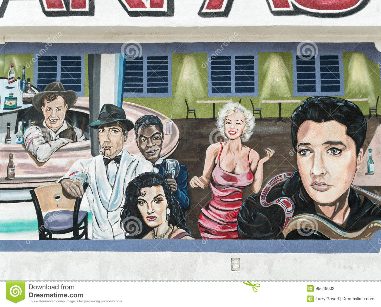 Elvis Marilyn Monroe Wall Mural Famous People Editorial Photography Image Of Artwork