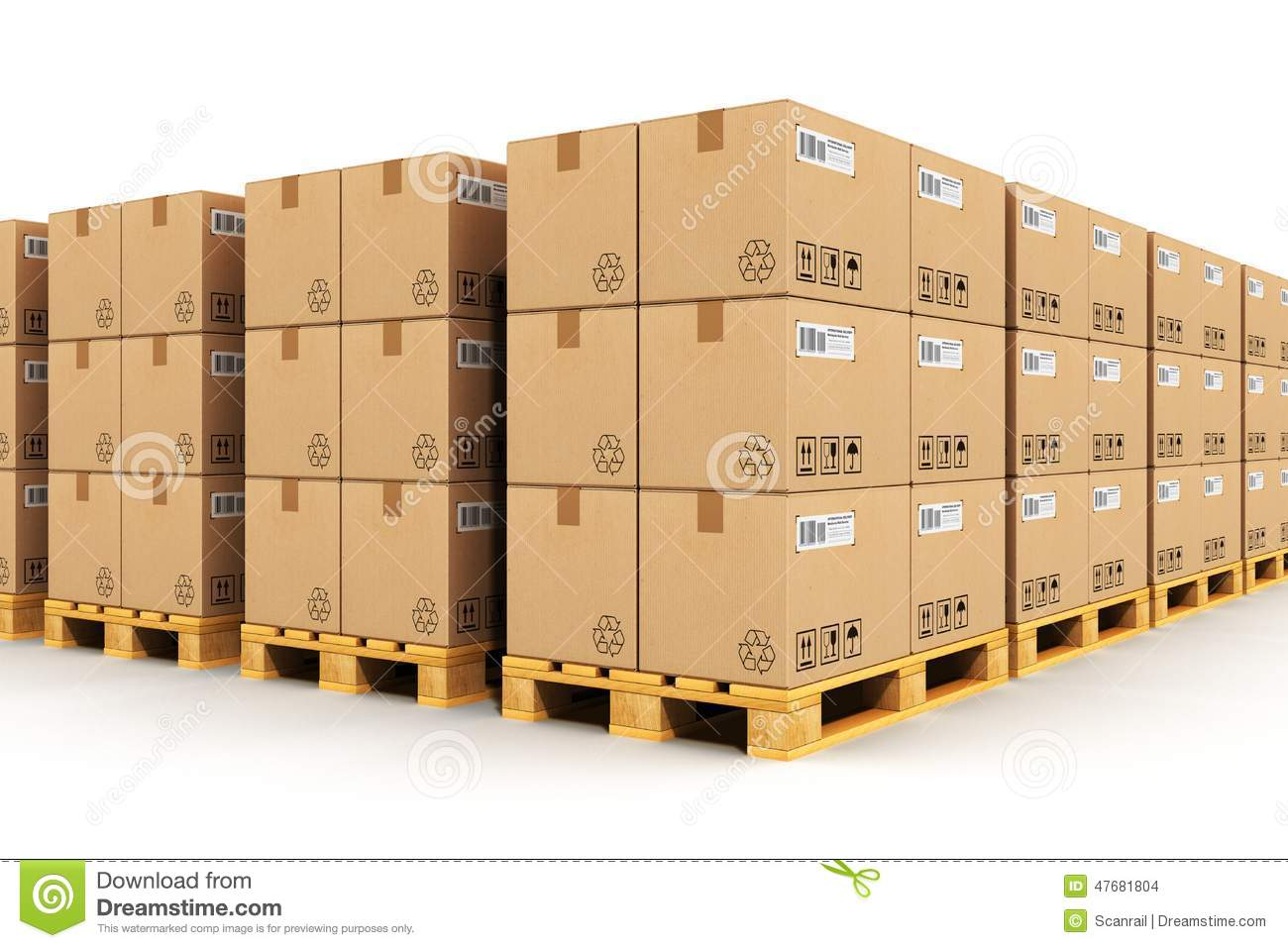Warehouse With Cardbaord Boxes On Shipping Pallets Stock