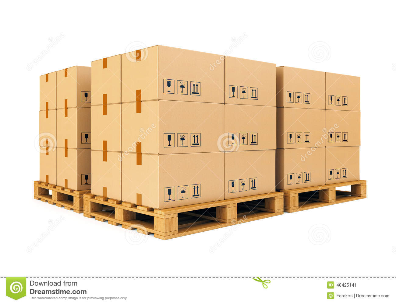 Lagerregal Clipart Warehouse Cardboard Boxes On Pallets Stock Illustration