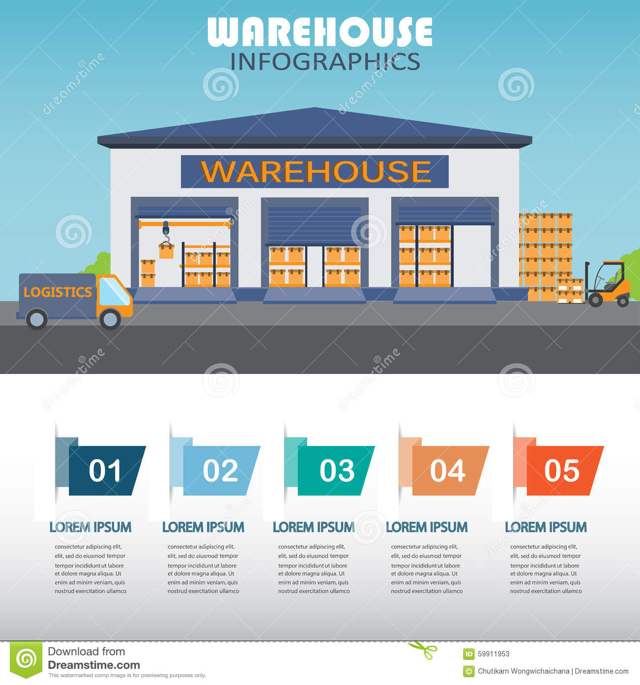 Warehouse Website Warehouse Infographics Stock Vector Illustration Of