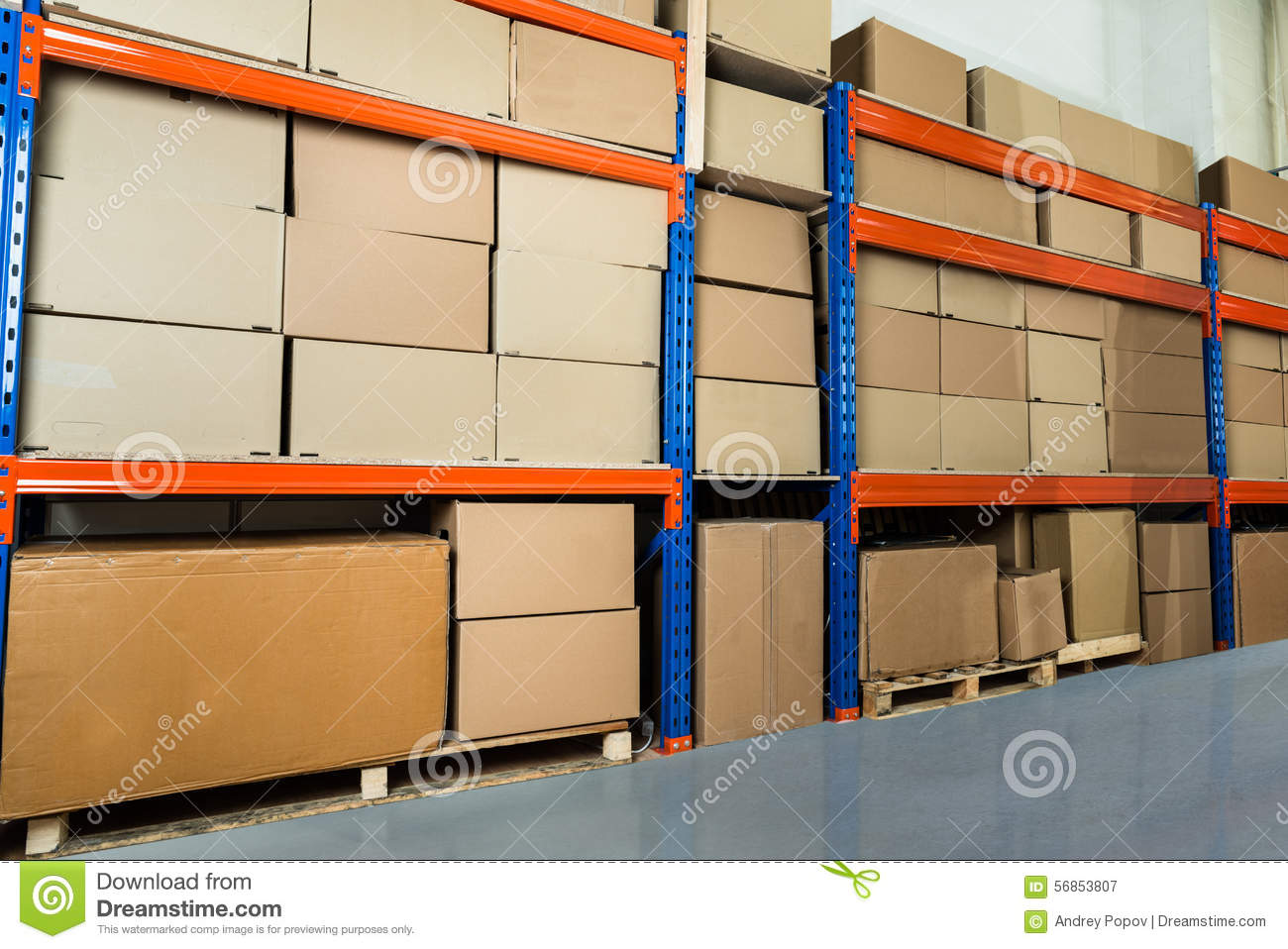 Lagerregal Clipart Warehouse Shelf With Cardboard Boxes Stock Photo Image