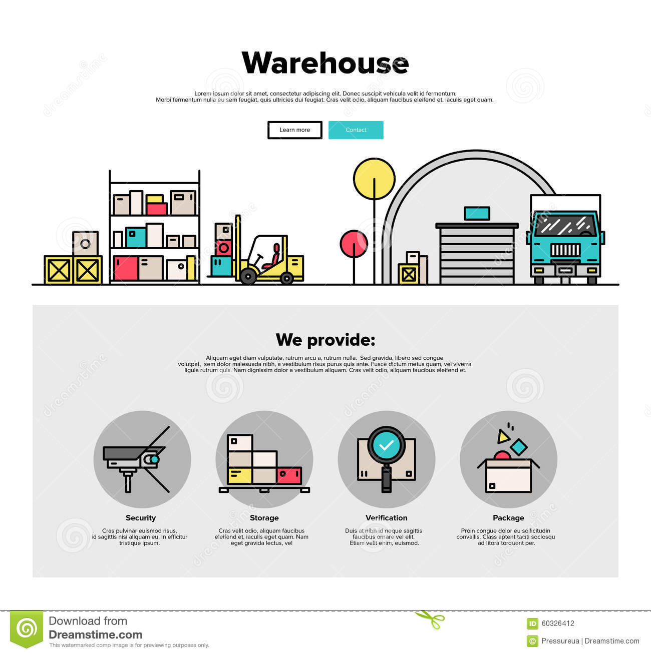 Warehouse Website Warehouse Storage Flat Line Web Graphics Stock Vector