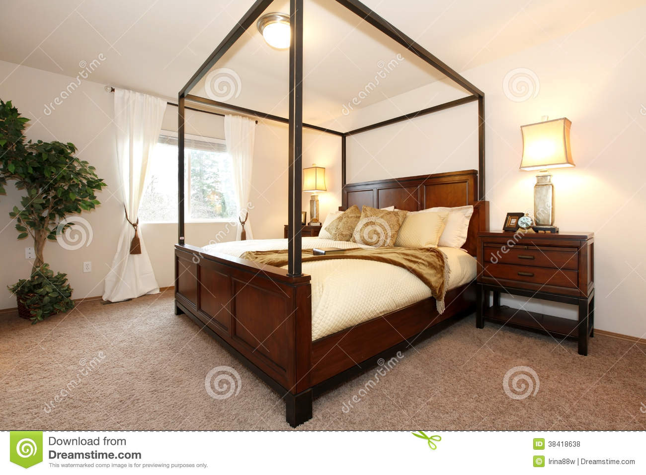 High Post Beds Warm Beautiful Bedroom With A High Posts Bed Royalty Free