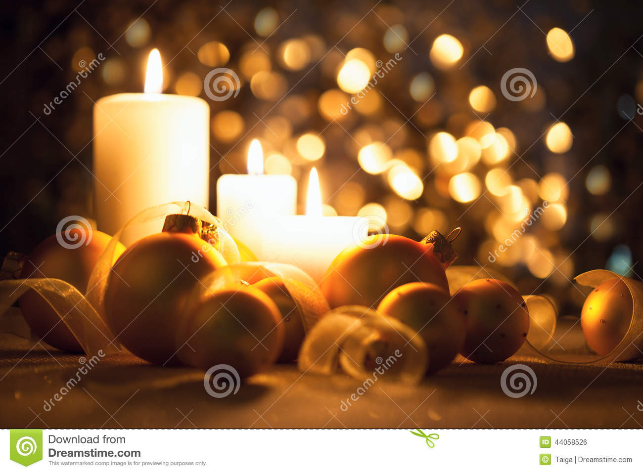 Fall Candles Wallpaper Warm Night Christmas Decorations On Magic Bokeh Background