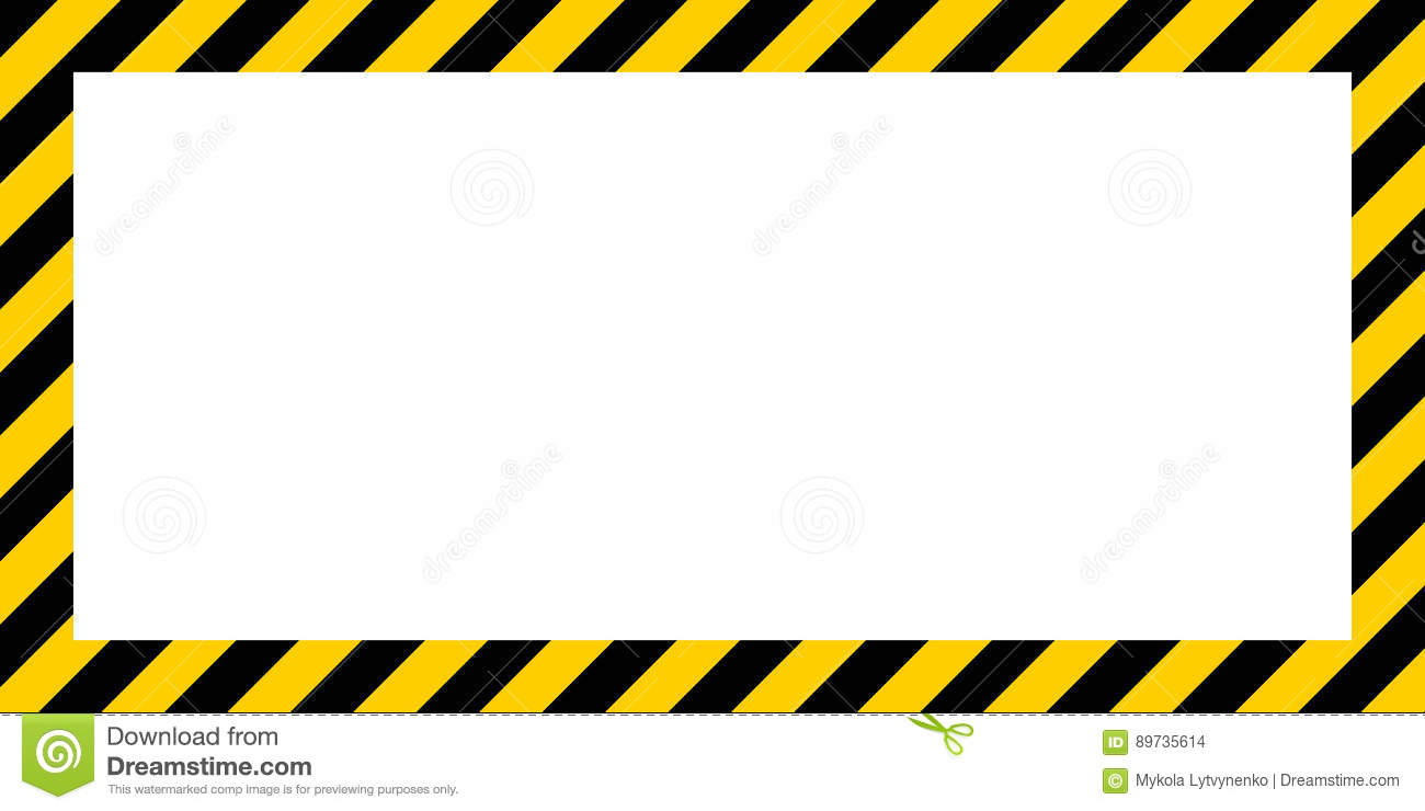 Border frame with black and yellow stripe on white background warning striped rectangular background border download