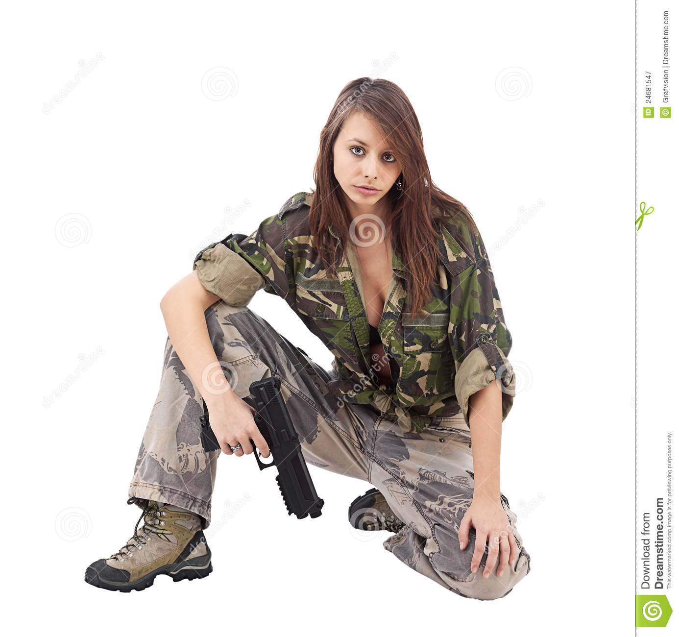 Afro Girl Wallpaper Warrior Woman In Military Camo Royalty Free Stock