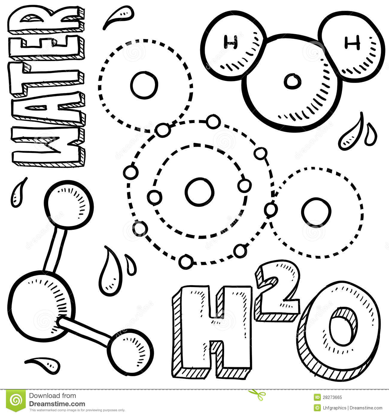 diagram of a molecule of water