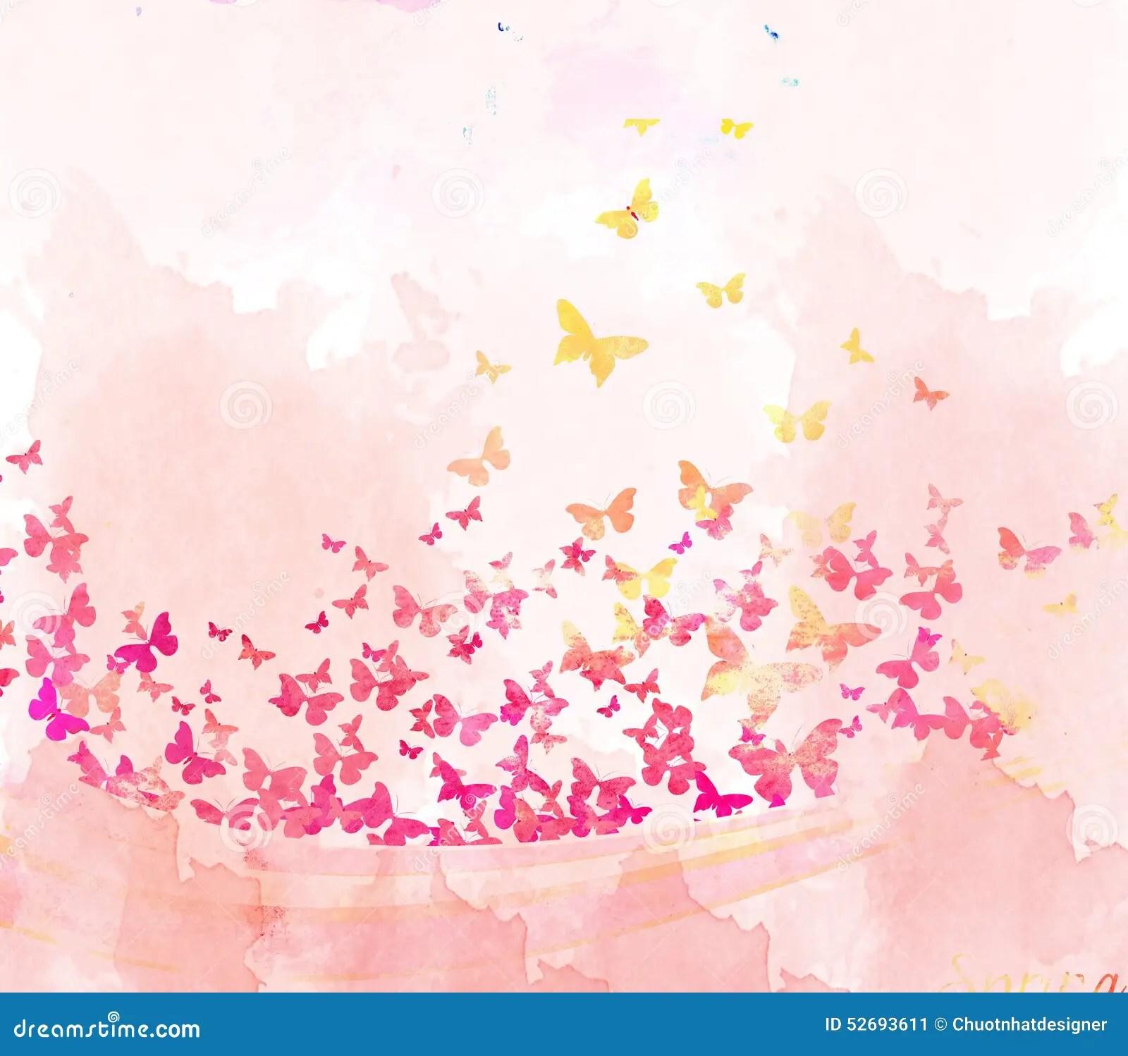 Watercolor Butterflies Background Stock Illustration