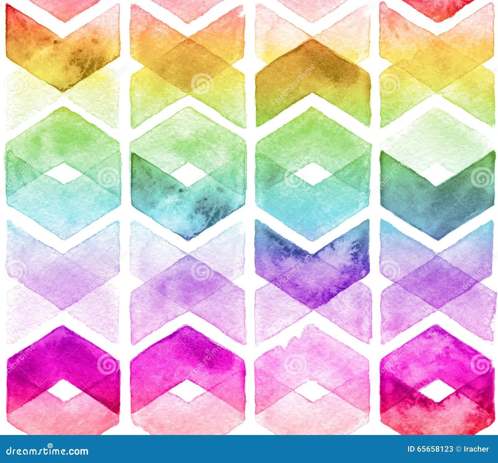 Cute Zig Zag Wallpapers Watercolor Chevron Rainbow Colors Stock Illustration