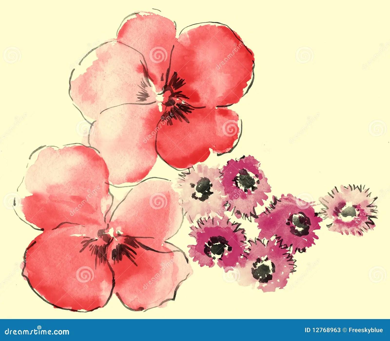 3d Cherry Blossom Wallpaper Watercolor Of Daisy And Sakura Stock Photos Image 12768963