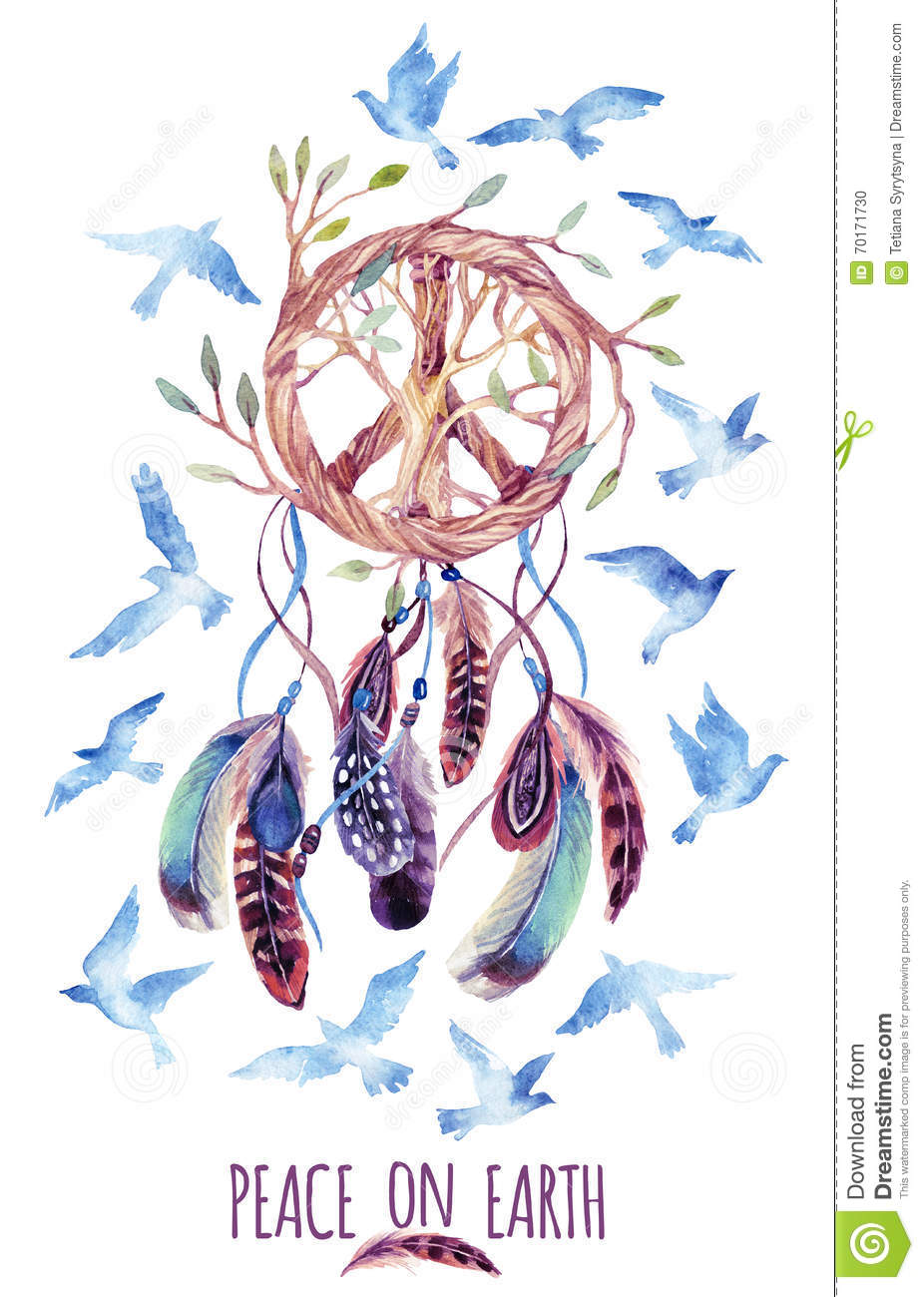 Cute Henna Wallpapers Watercolor Ethnic Dream Catcher And Peace Sign Stock