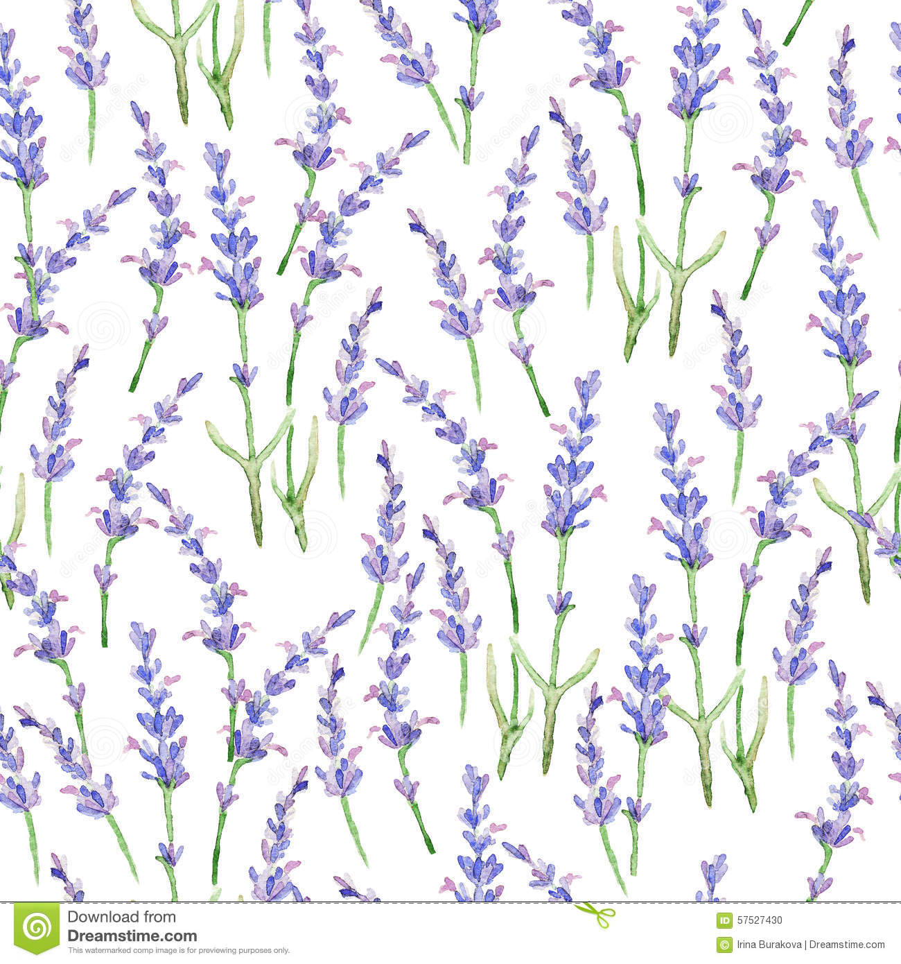 3d Wallpaper Lavender Watercolor Pattern With Lavender Stock Illustration