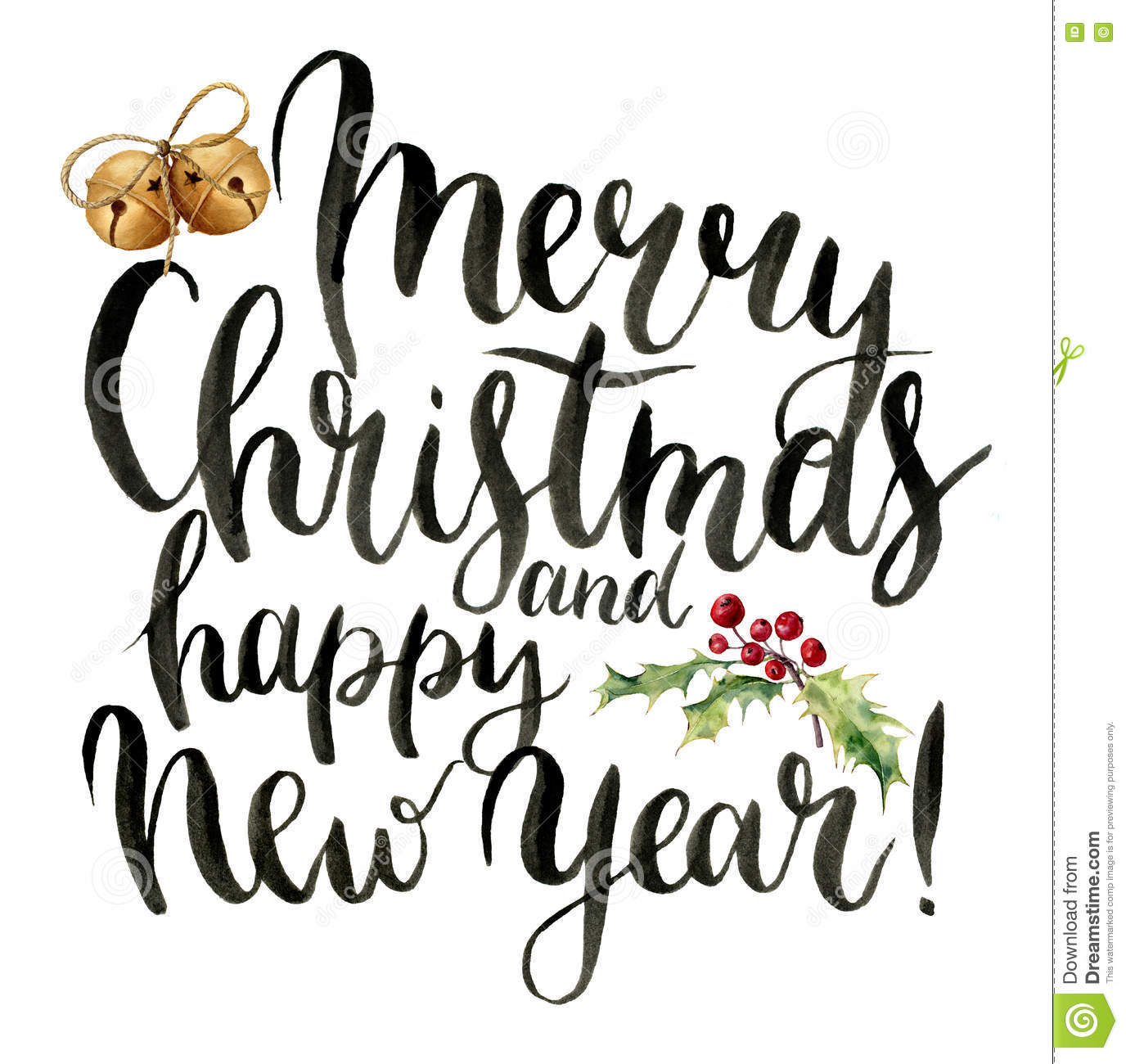 Carte Cadeau Wish Watercolor Print Witn Merry Christmas And Happy New Year
