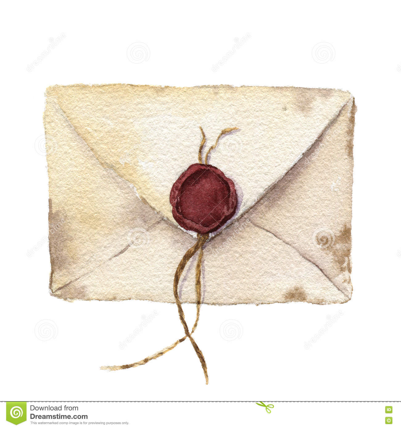 Enveloppe Vintage Watercolor Retro Envelope With Sealing Wax Vintage Mail