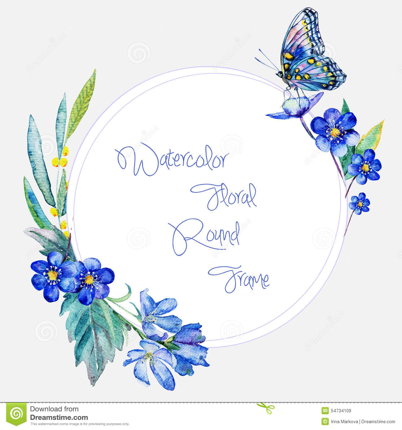 Cute Roses Wallpapers Download Watercolor Round Frame Of Blue Flowers And Butterfly
