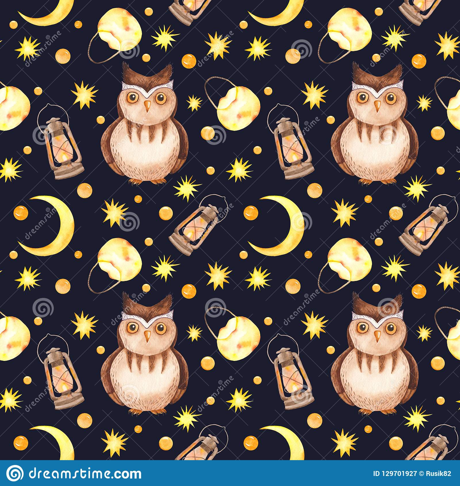 Lanterns Wallpaper Watercolor Seamless Pattern With Owl Background Light Moon