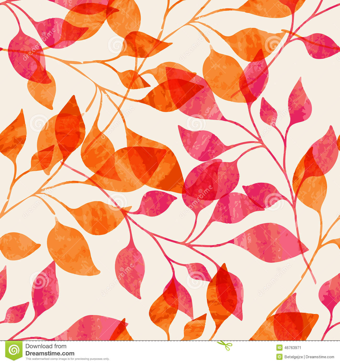 Pink Feathers Falling Wallpaper Watercolor Seamless Pattern With Pink And Orange Autumn