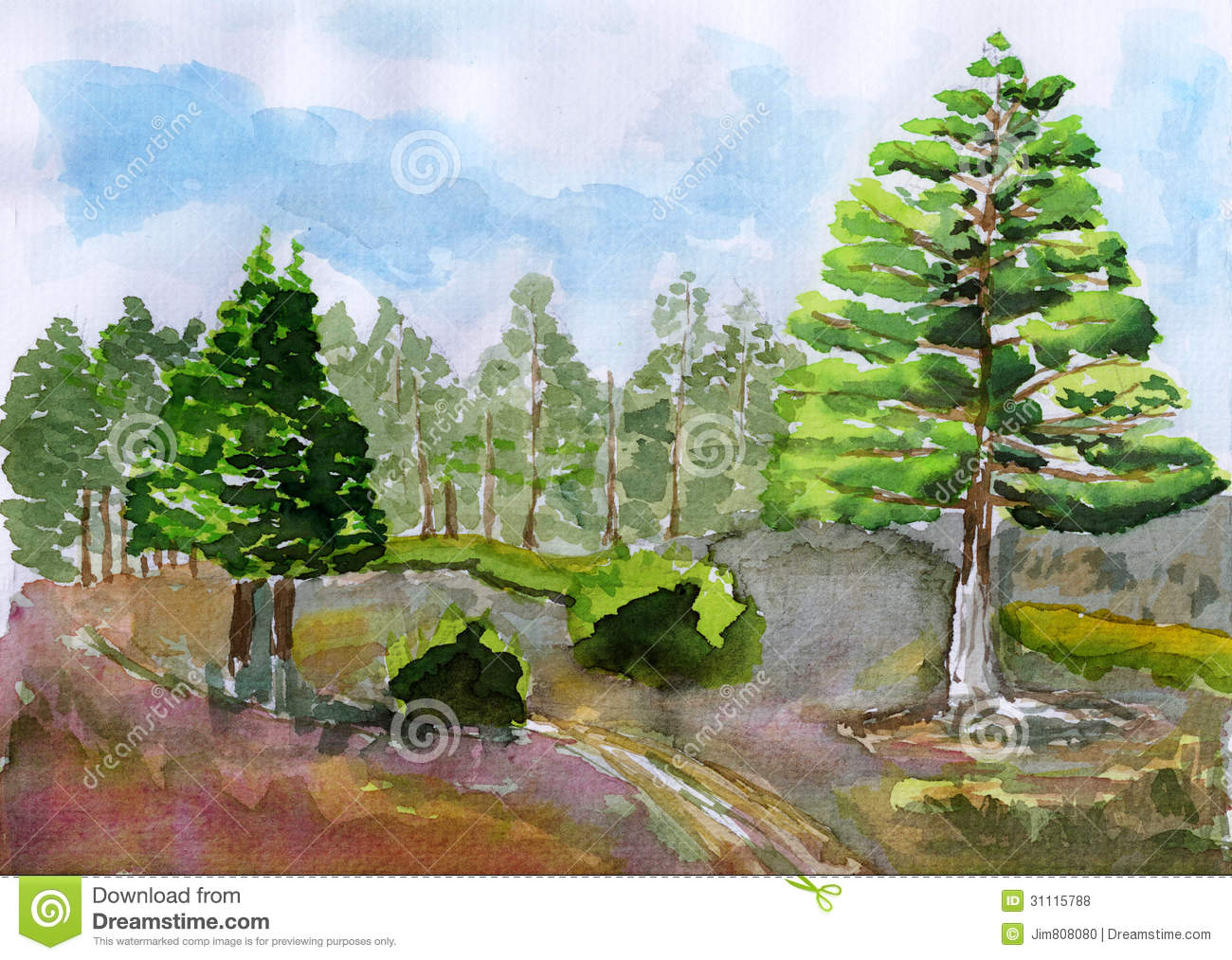 Tree Drawing With Watercolor Watercolor Tree Stock Illustration Illustration Of