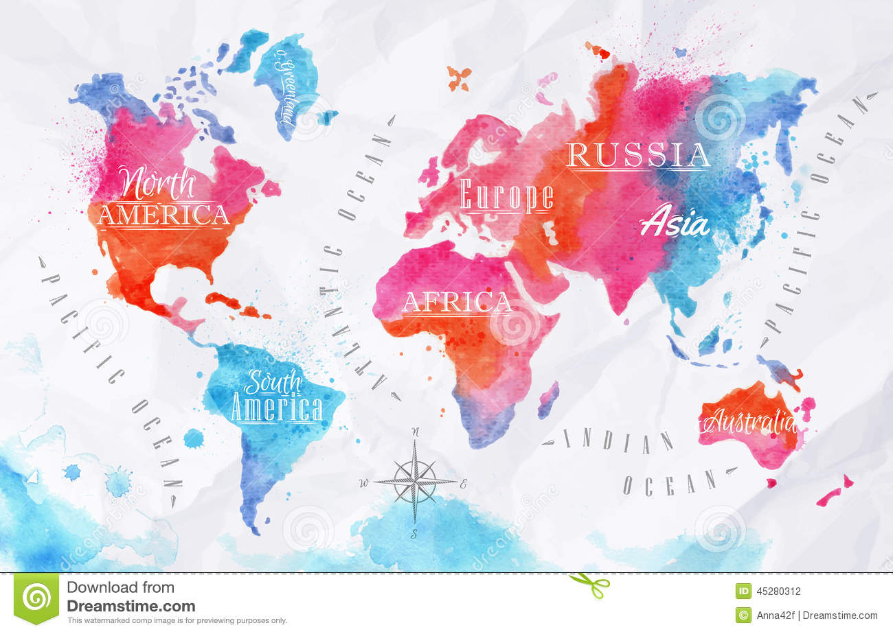 Rose Gold Wallpaper With Quotes Watercolor World Map Pink Blue Stock Vector Image 45280312