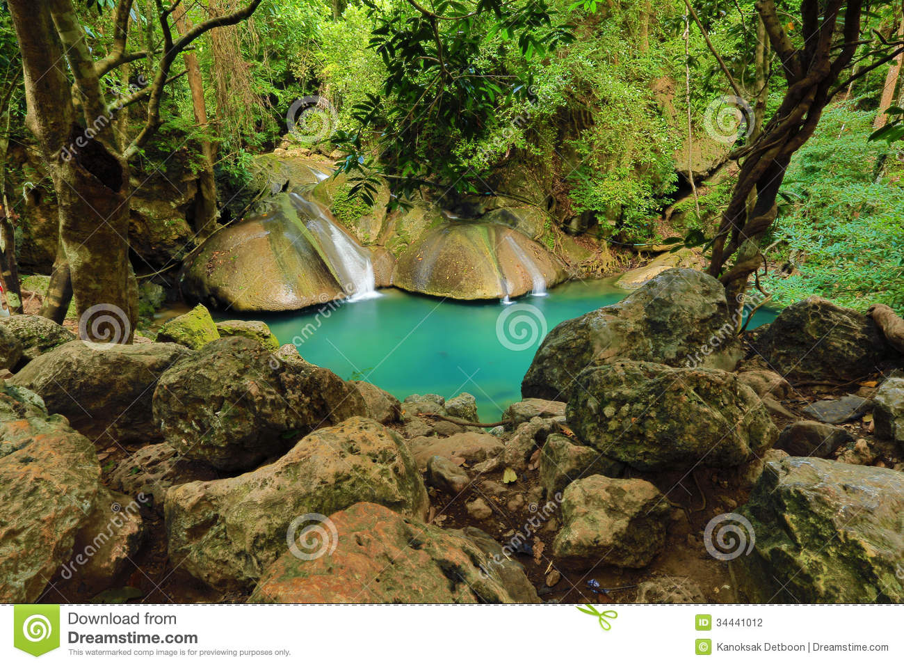 Waterfall beautiful scenery in the tropical forest stock
