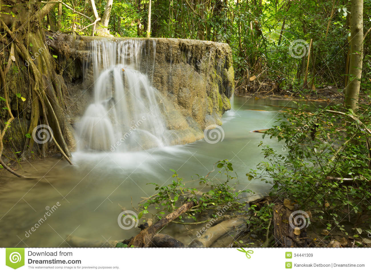 Waterfall beautiful scenery in the tropical forest