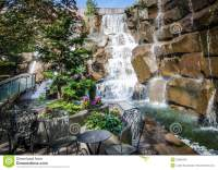 Waterfalls In A Garden Park On A Summer Day Editorial ...