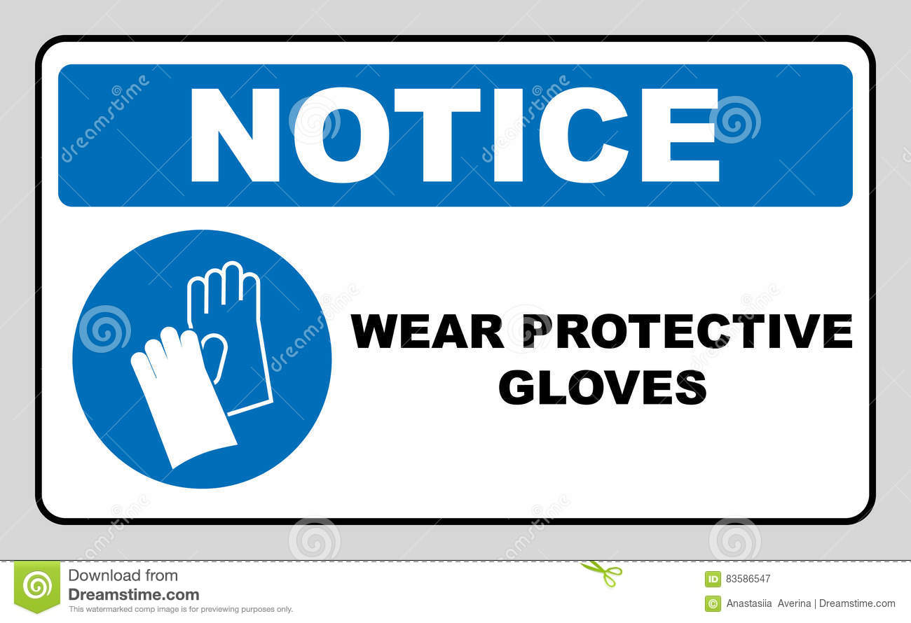 Wear Gloves Safety Sign Warning Sign Stock Vector