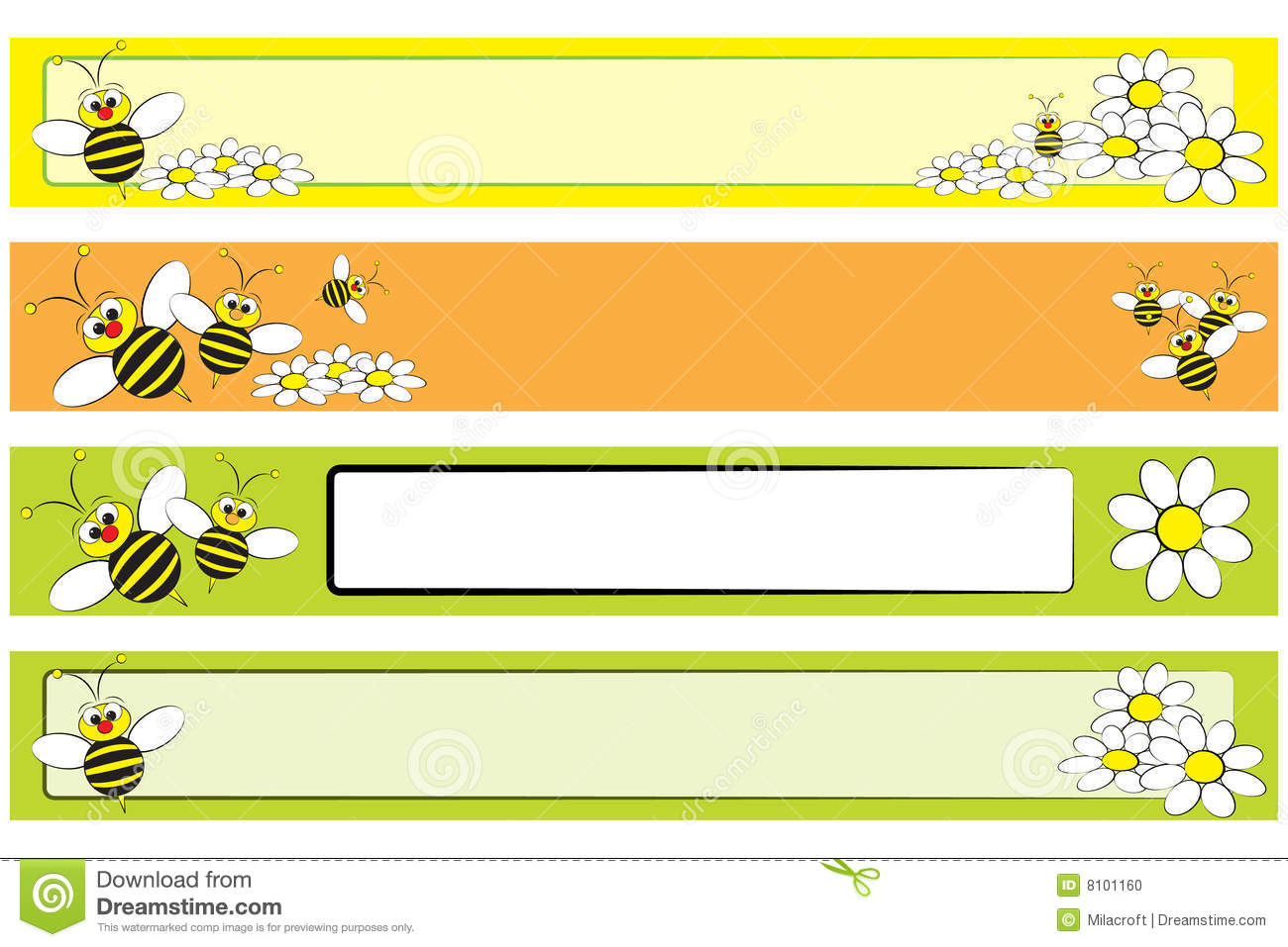 Cute Striped Wallpaper Background Web Banner Set Bee And Daisies For Children Stock Vector