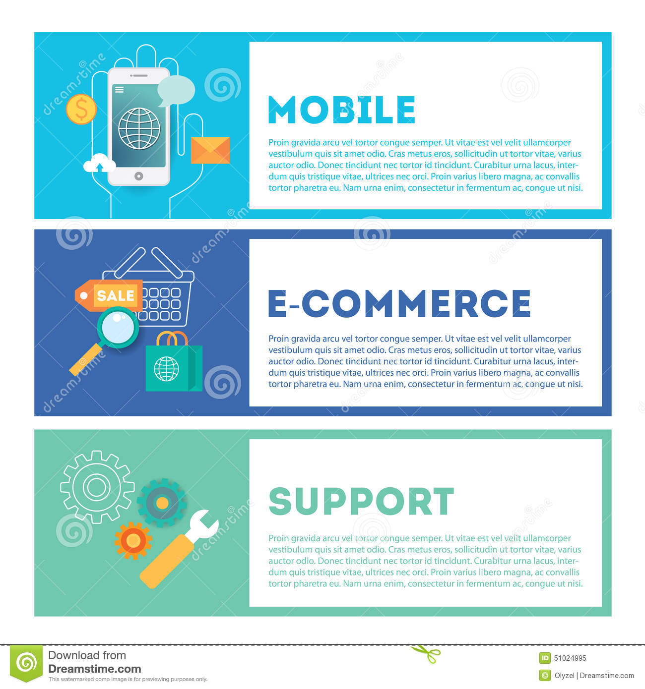 E Commerce Mobili Web Internet Development Illustration Set Mobile E