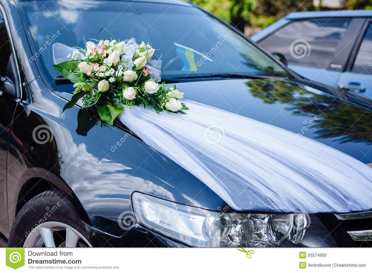 Car Decoration Weding Wedding Car Decor Flowers Bouquet Car Decoration Stock Photo