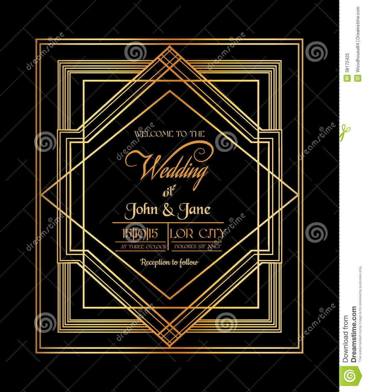 royalty free stock photo wedding invitation card art deco gatsby style save date image great gatsby wedding invitations Wedding Invitation Card