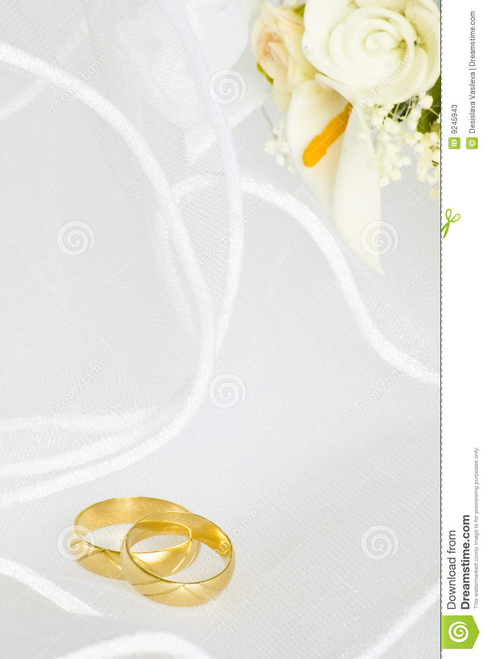 Ring Ceremony Hd Wallpaper Wedding Invitation Rings And Flowers Over Veil Stock