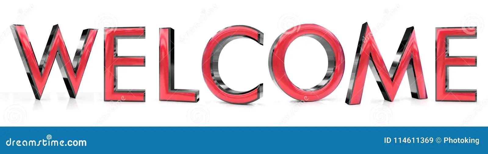 Welcome 3d word stock illustration Illustration of font - 114611369