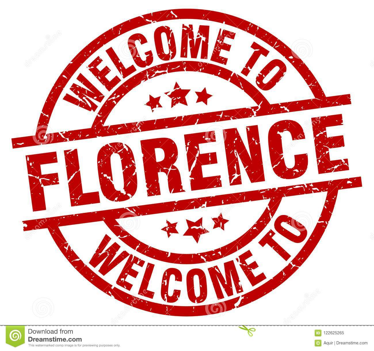 Florence Round Welcome To Florence Stamp Stock Vector Illustration Of Round