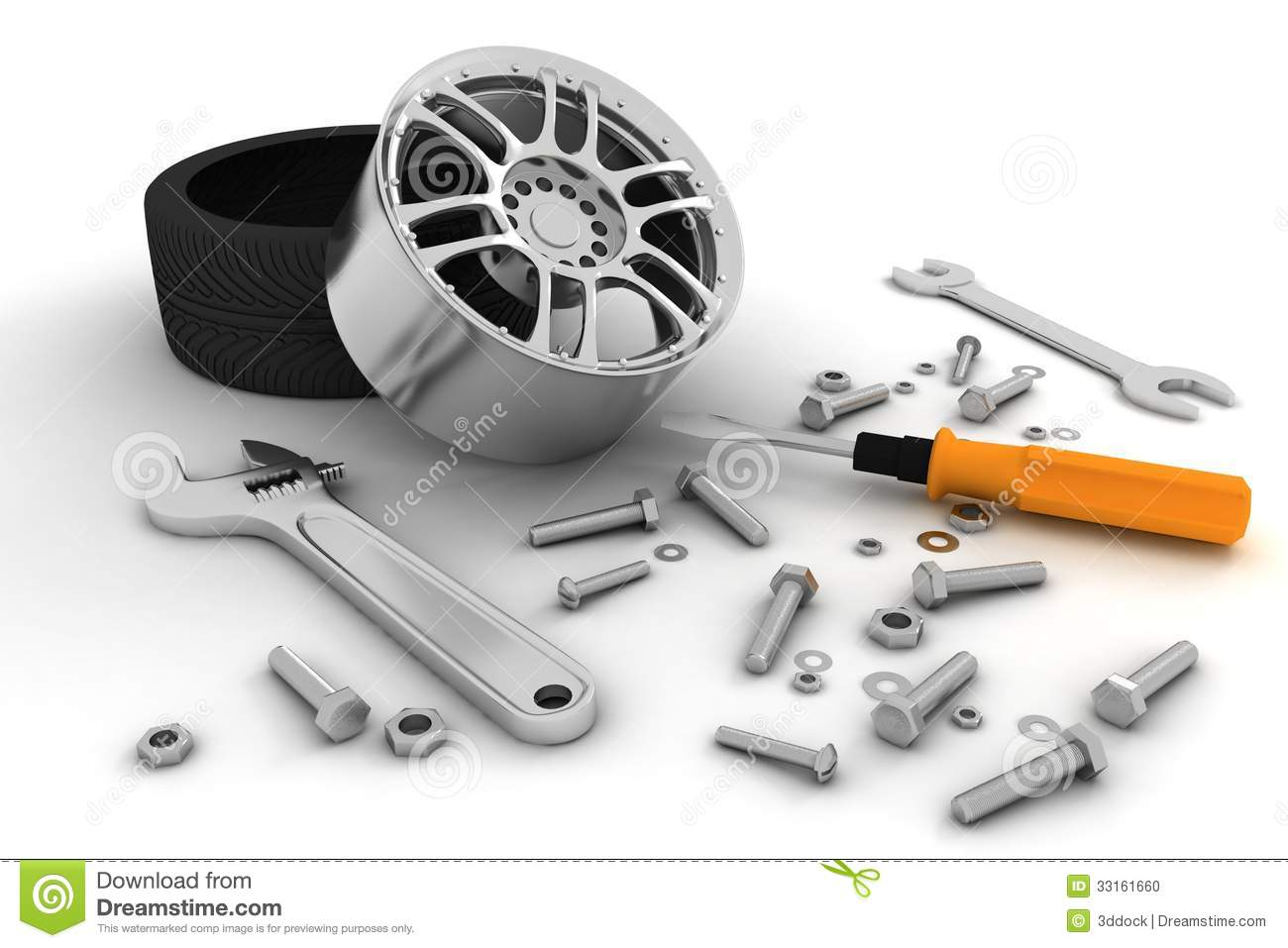 Tools Auto Wheel And Tools Car Service Stock Photo Image 33161660