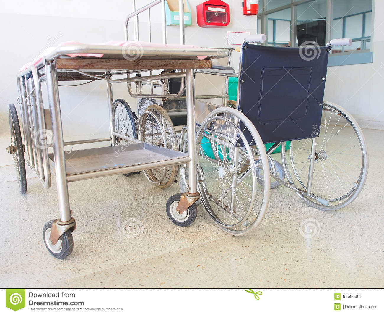 Bed Wheelchair Wheelchair And Patient Bed Stock Image Image Of Medicine 88686361