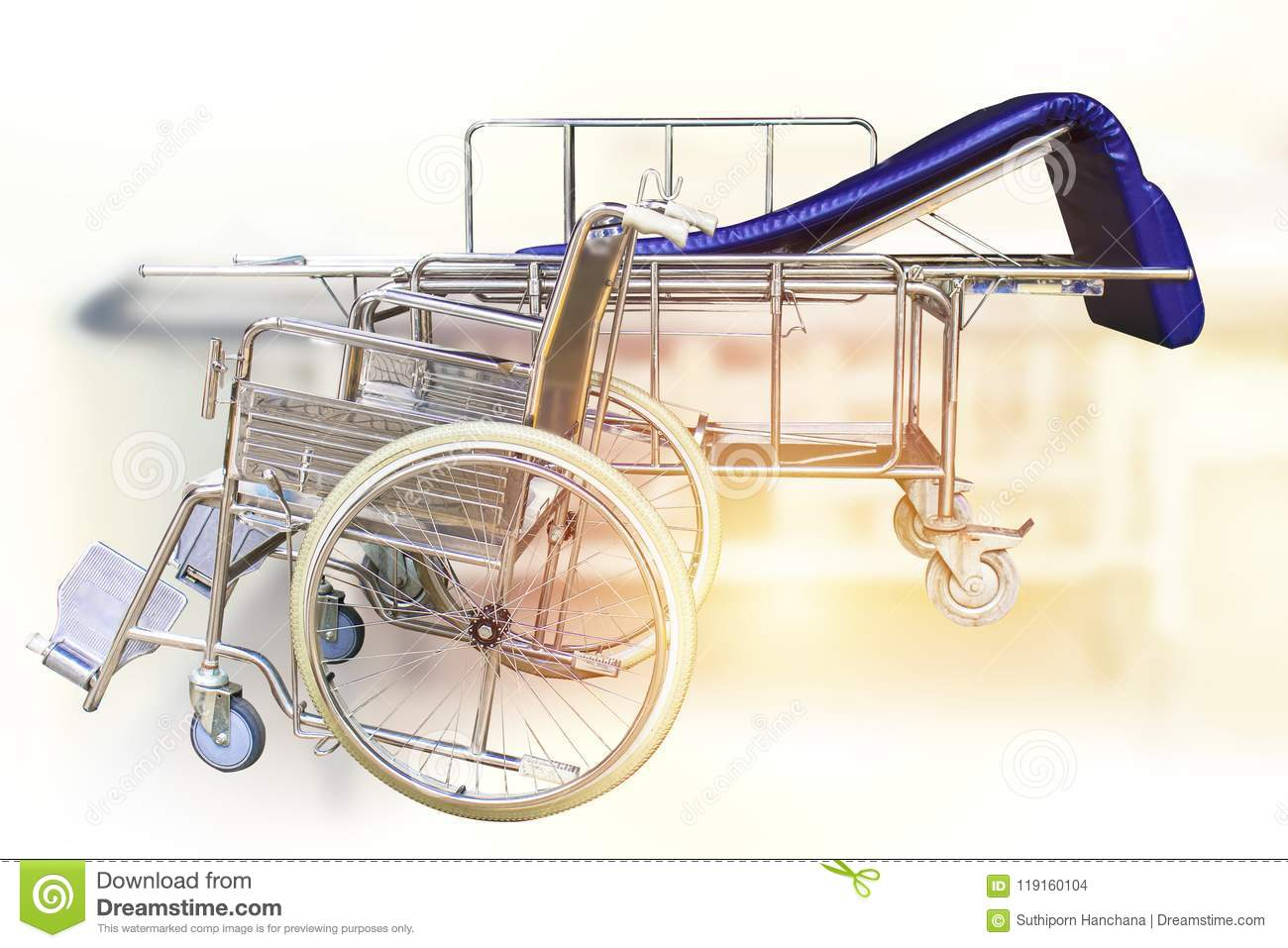 Bed Wheelchair Wheelchairs And Hospital Bed Waiting For Services Stock Photo