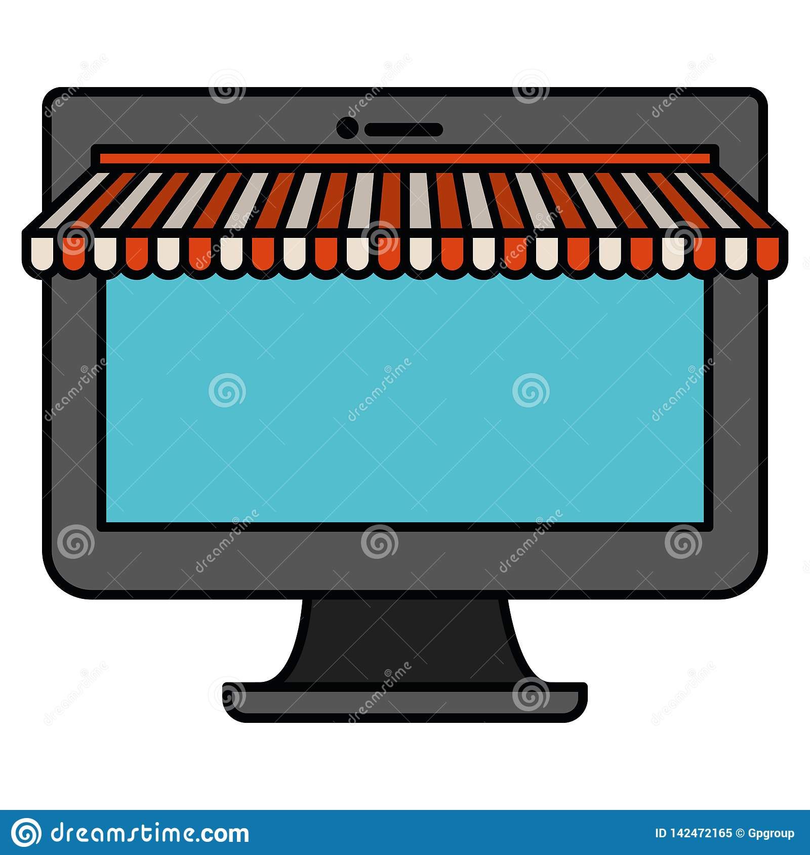Computer Online Store White Background With Colorful Silhouette Desktop Computer Online