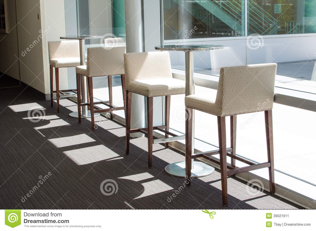White Bar Stools And Tables Stock Image Image Of Fabric