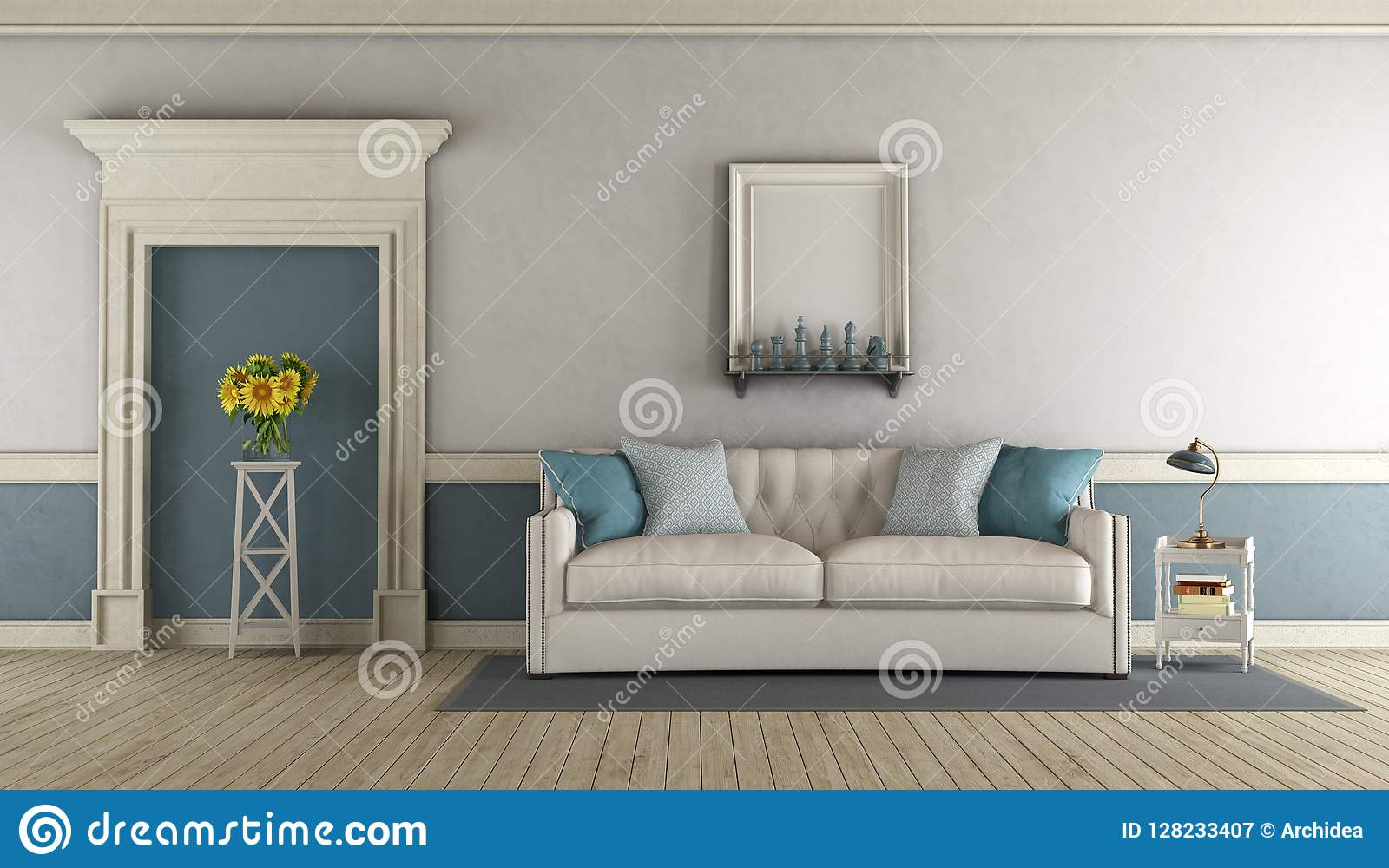 Grey White And Blue Living Room White And Blue Classic Living Room Stock Illustration