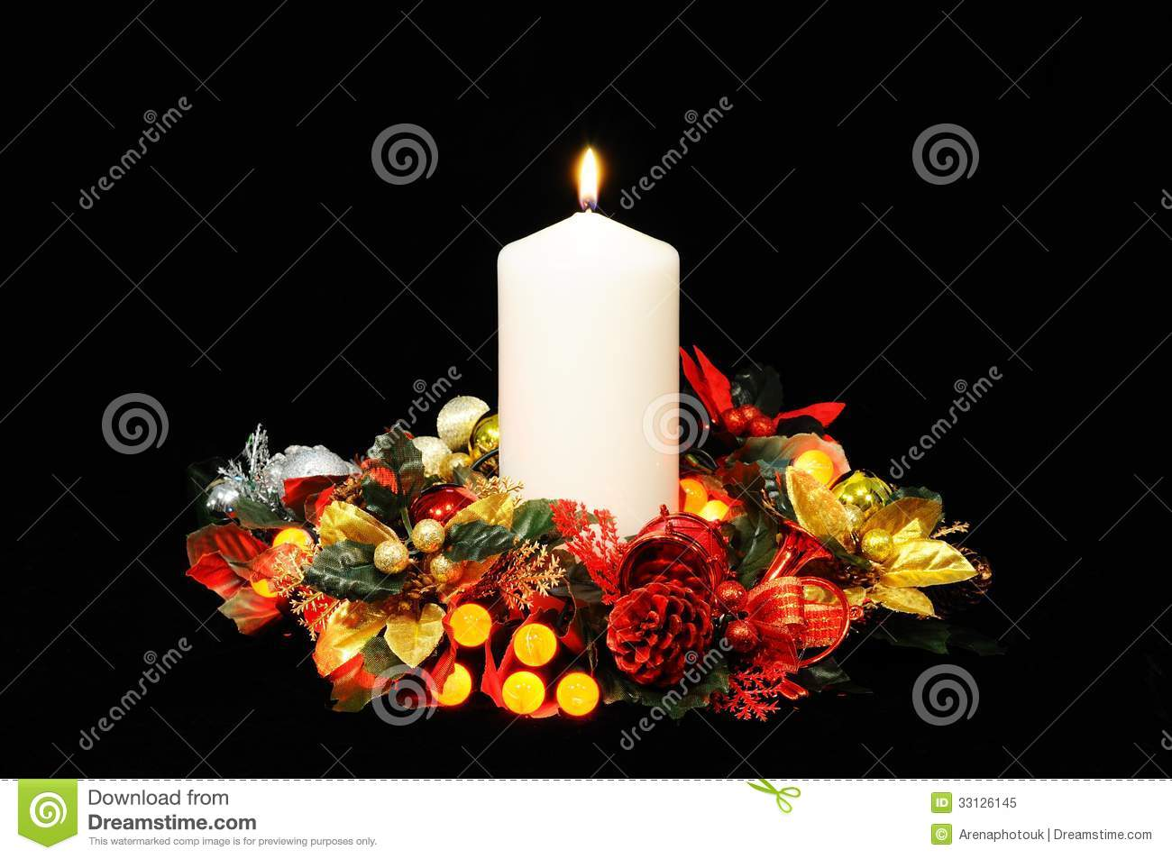 Christmas Candle Black And White White Candle And Christmas Decorations Royalty Free Stock