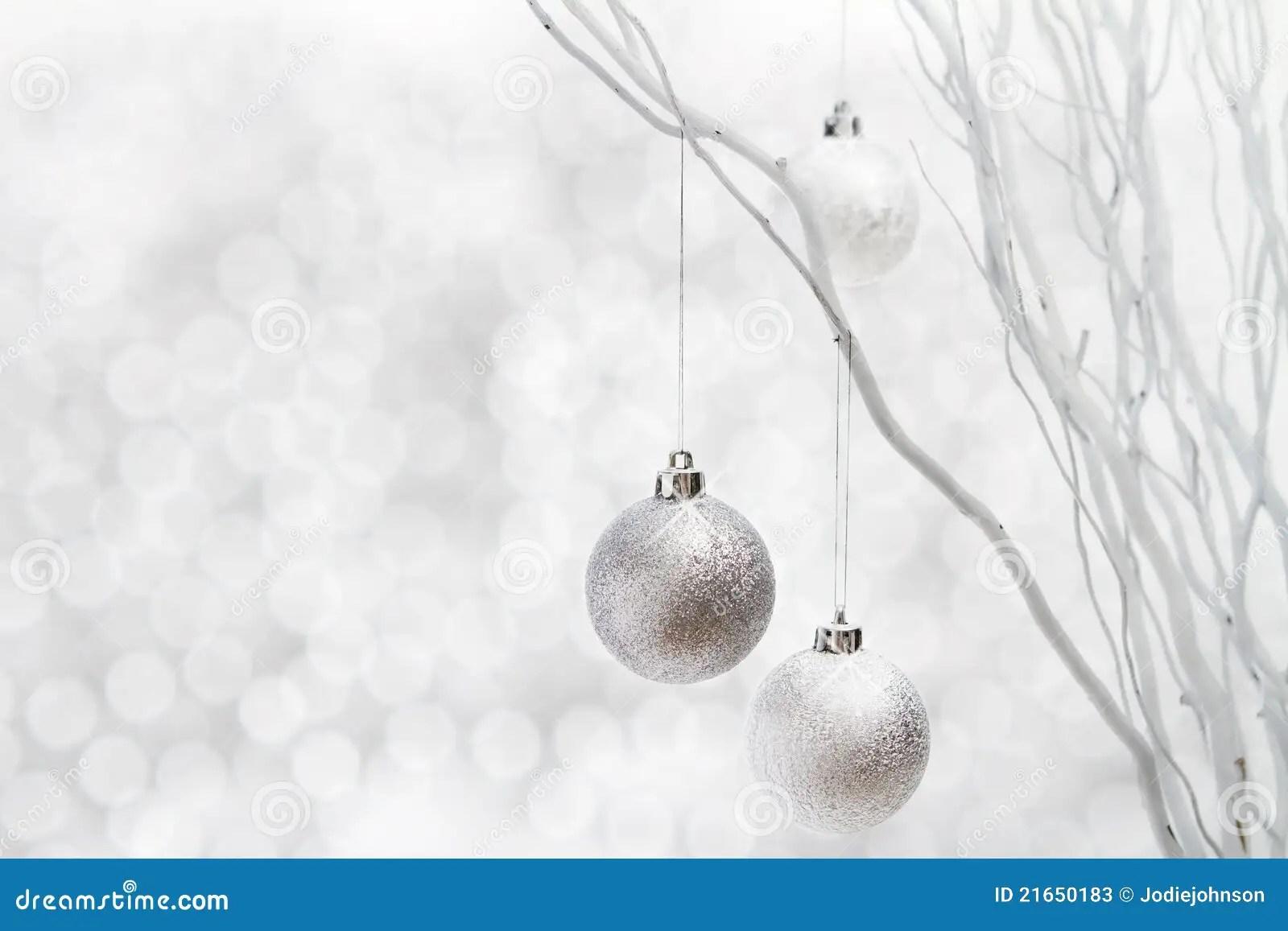 Wallpaper Hd Portrait Orientation White Christmas Background Silver Balls Stock Image