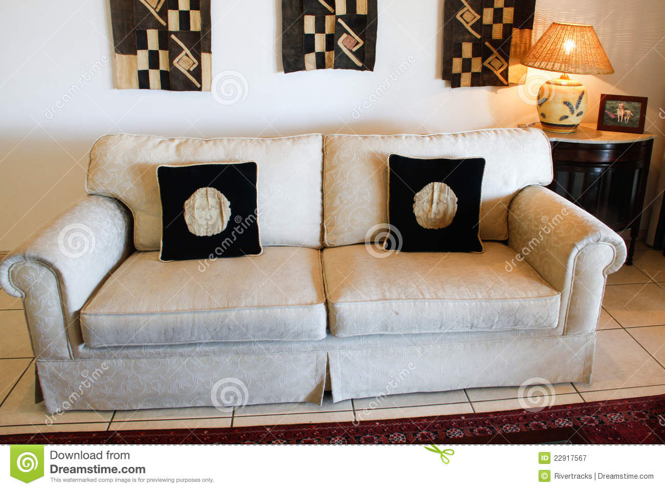 White Couch With Black Cushions Stock Image Image Of - Sofa Cushions Black And White