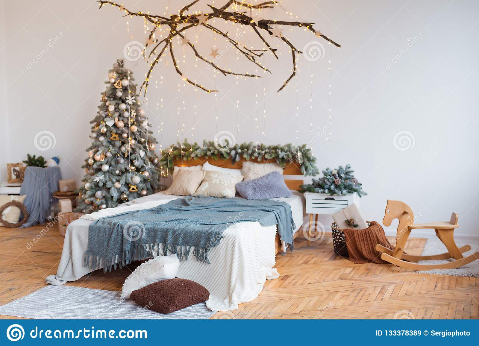White Decoration Bedroom White Cozy Modern Bedroom With Holiday Decoration Wooden Bed In