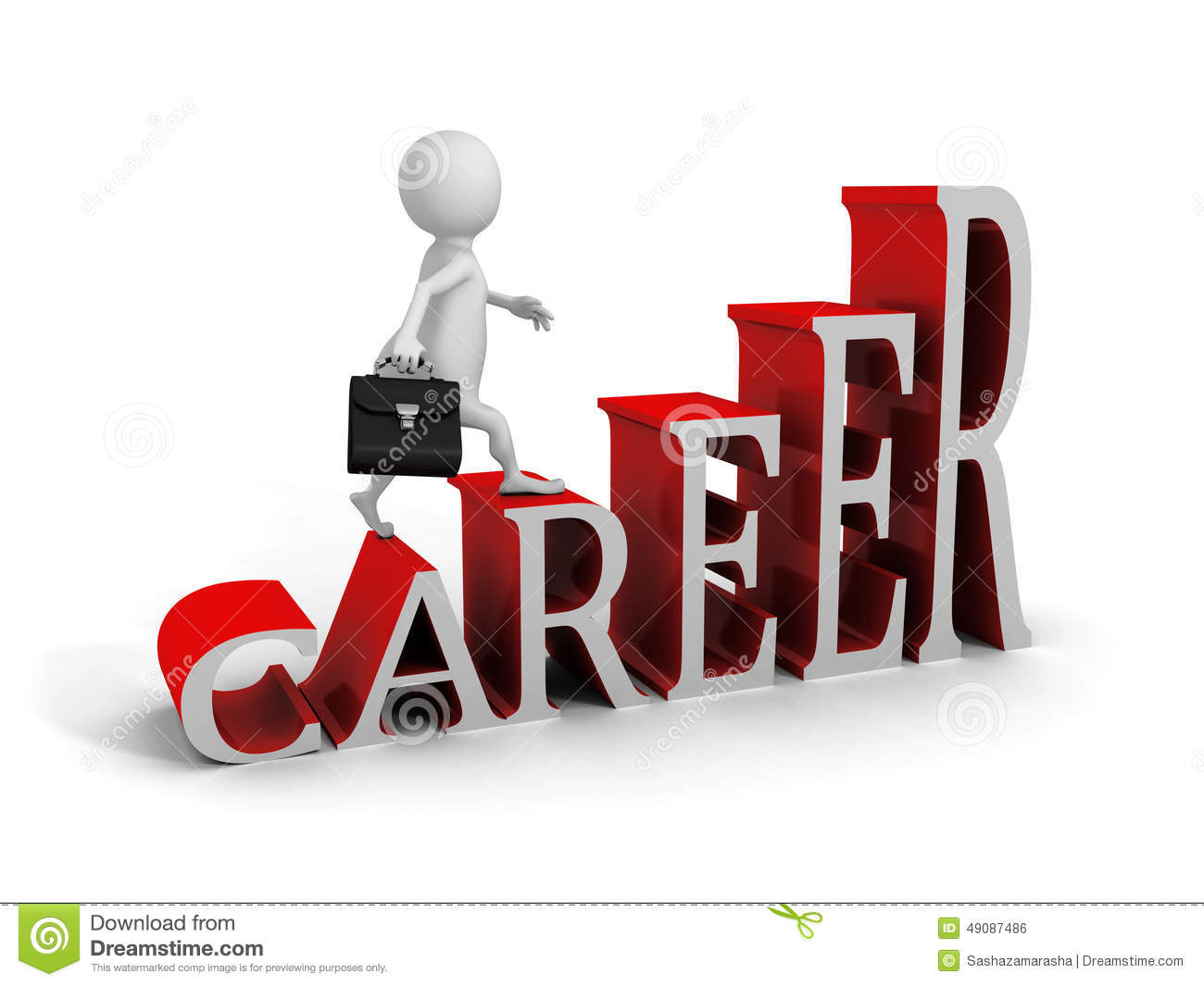 White 3d Man Climbing Up On Career Text Ladder Stock