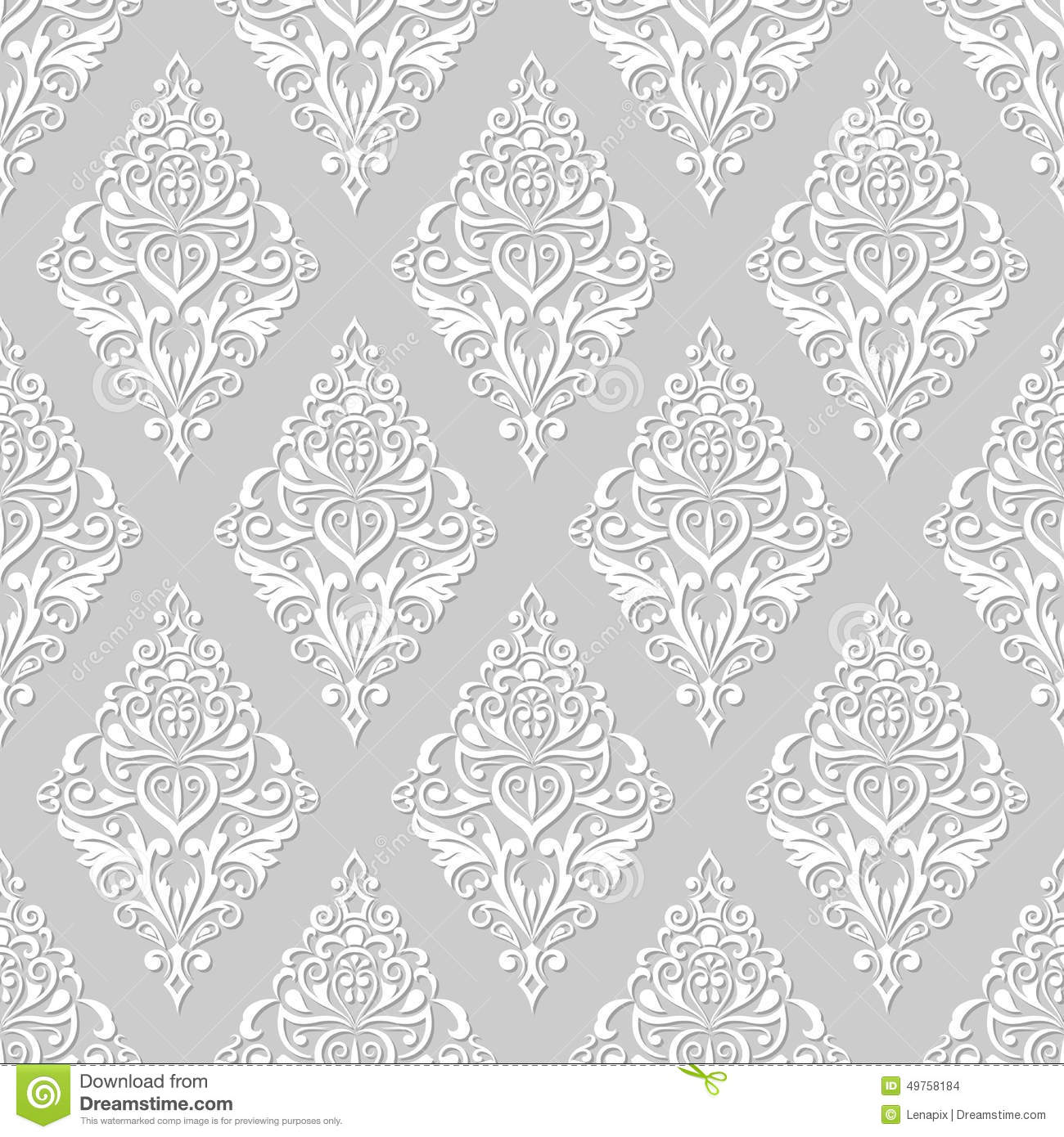 Grey And White Pattern White And Grey Floral Wallpaper Stock Vector Image 49758184